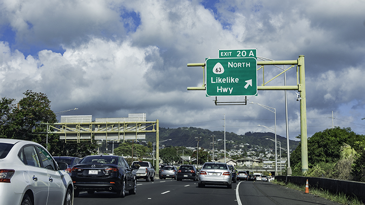 Typical traffic in Honolulu on a weekday.